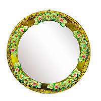 Зеркало круглое с фарфоровым украшением