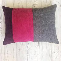Декоративна подушка Pillow Design КолорБлок серо-розово-фиолетовая 36x50 см