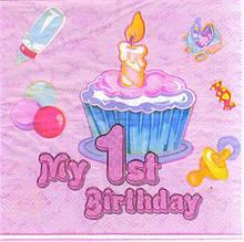 Салфетки бумажные праздничные My 1st Birthday розовые (20 штук) 1543