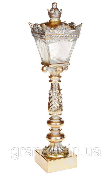Декоративный Фонарь с LED подсветкой на батарейках (3хАА), 49.5см, цвет - золото