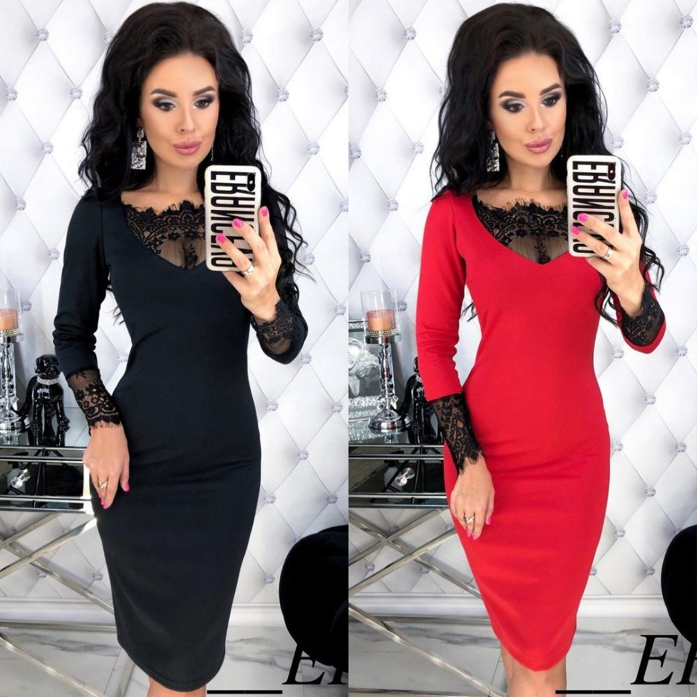 Платье футляр женское, повседневное, нарядное,трикотажное, длина миди, с кружевной вставкой, эффектное, модное