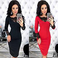 Платье футляр женское, повседневное, нарядное,трикотажное, длина миди, с кружевной вставкой, эффектное, модное, фото 1