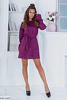 Нарядное короткое платье с объемными рукавами арт 3951