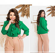 / Размер 50,52,54,56 / Женская нежная и женственная блузка батал 159-2Б-Зеленый, фото 2