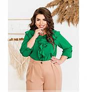/ Размер 50,52,54,56 / Женская нежная и женственная блузка батал 159-2Б-Зеленый, фото 3