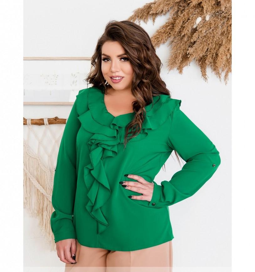 / Размер 50,52,54,56 / Женская нежная и женственная блузка батал 159-2Б-Зеленый