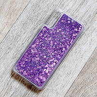 Чехол аквариум для Samsung Galaxy A30S (SM-A307) (сердечки и фиолетовые блестки)