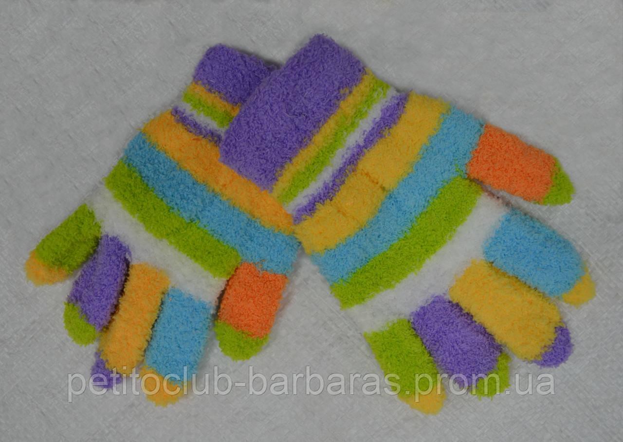 Перчатки детские для девочки в полоски махровые сиреневые (Ugur, Турция)