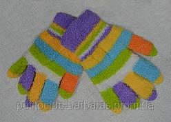 Рукавички дитячі для дівчинки в смужки махрові бузкові (Ugur, Туреччина)