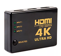 HDMI сплитер 4K переключает с 3 входов ->1 экран ТВ switcher свич UH-301