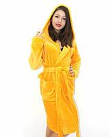 Махровый халат на запах с капюшоном желтый, фото 1