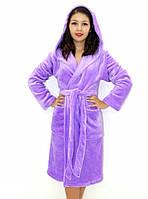 Махровый халат на запах с капюшоном сиреневый, фото 1