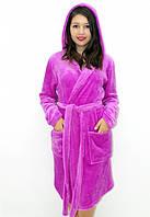 Махровый халат на запах с капюшоном фуксия, фото 1
