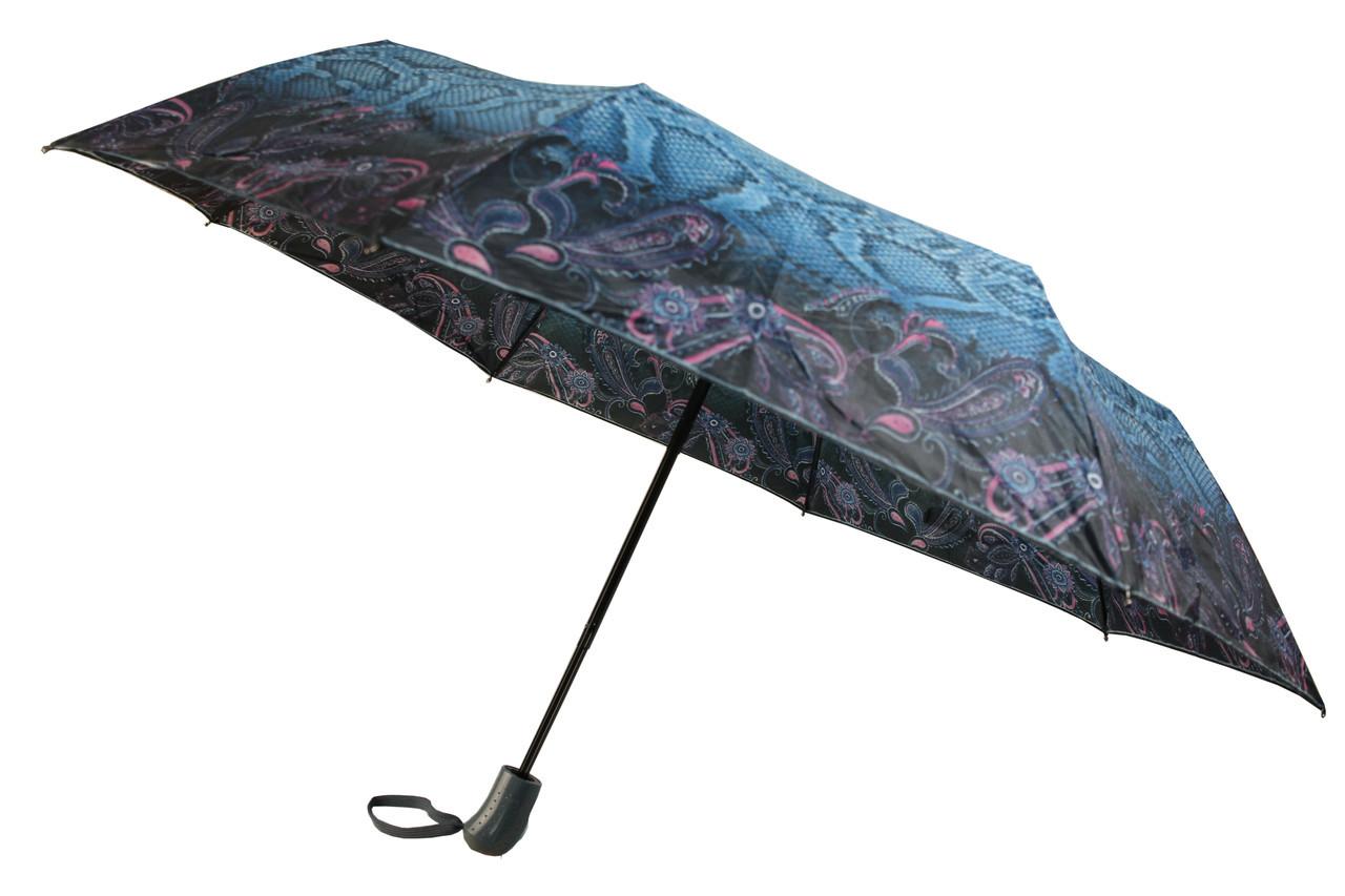 Зонт женский полуавтомат с абстрактным рисунком рептилия - 8 карбоновых спиц, (13833)
