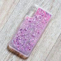 Чехол аквариум для Samsung Galaxy A30S (SM-A307) (сердечки и розовые блестки)