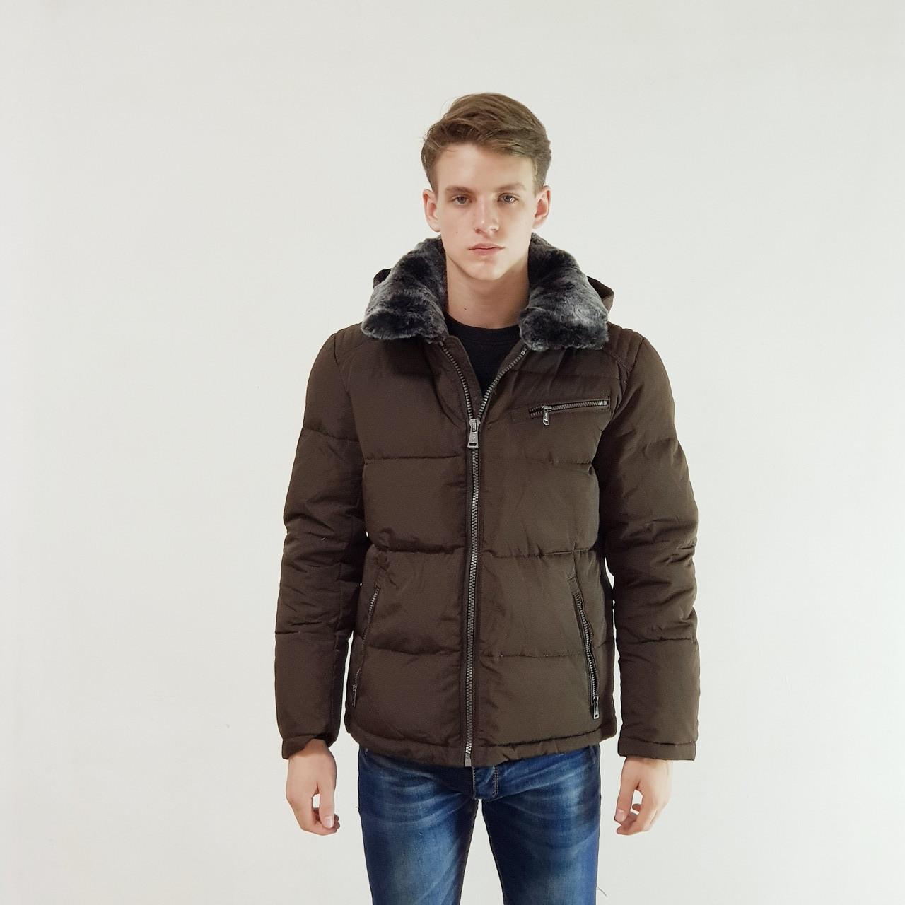 Куртка мужская зимняя Snowimage с капюшоном 54 коричневый 104-6156