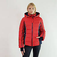Куртка пуховик зимний короткий женский Snowimage с капюшоном 50 красный 105-1063