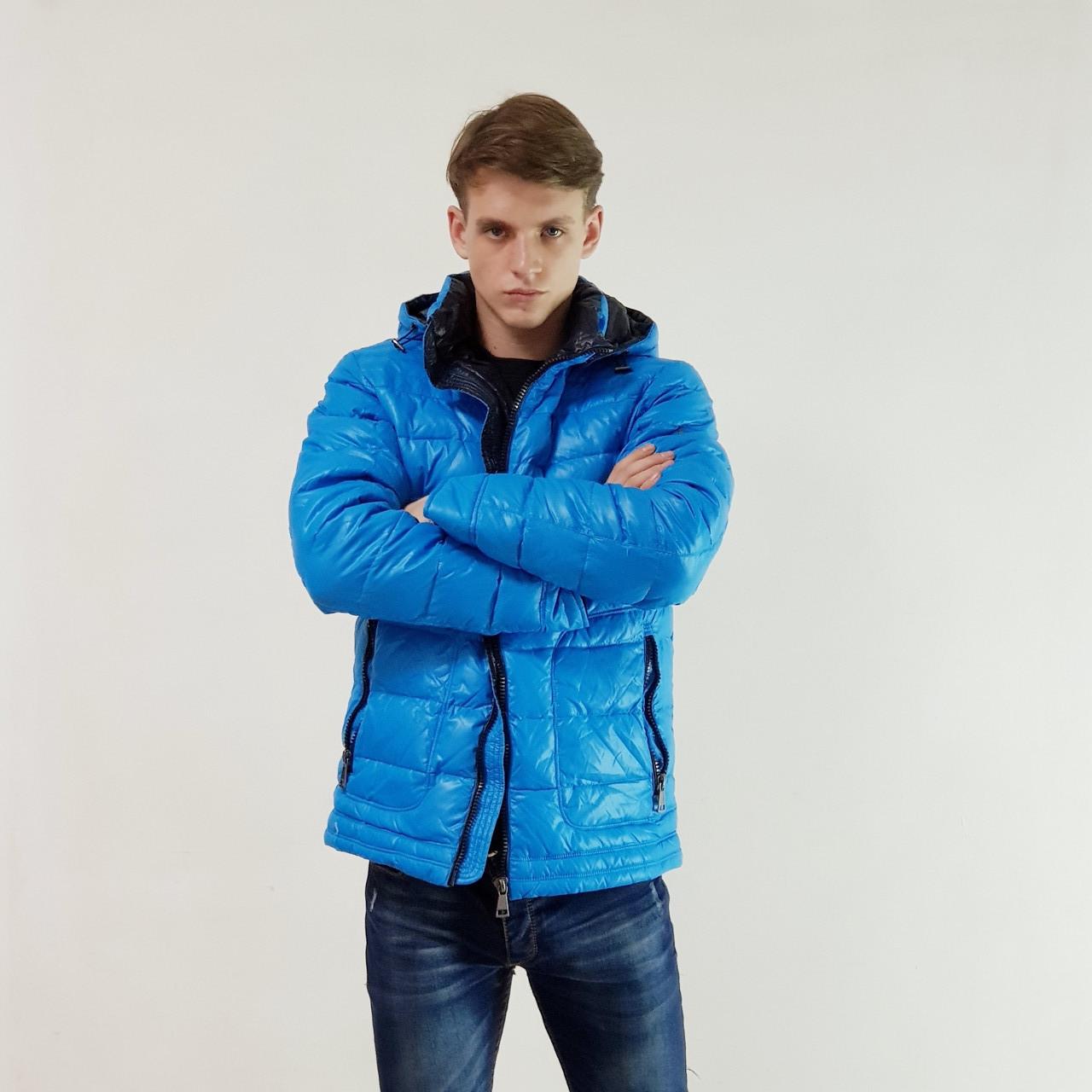 Куртка мужская зимняя Snowimage с капюшоном 52 голубой 105A-3341