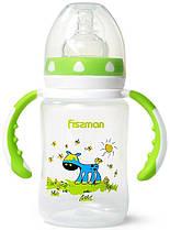 Бутылочка детская для кормления Fissman Babies  Ослик на лужайке  240мл с ручками