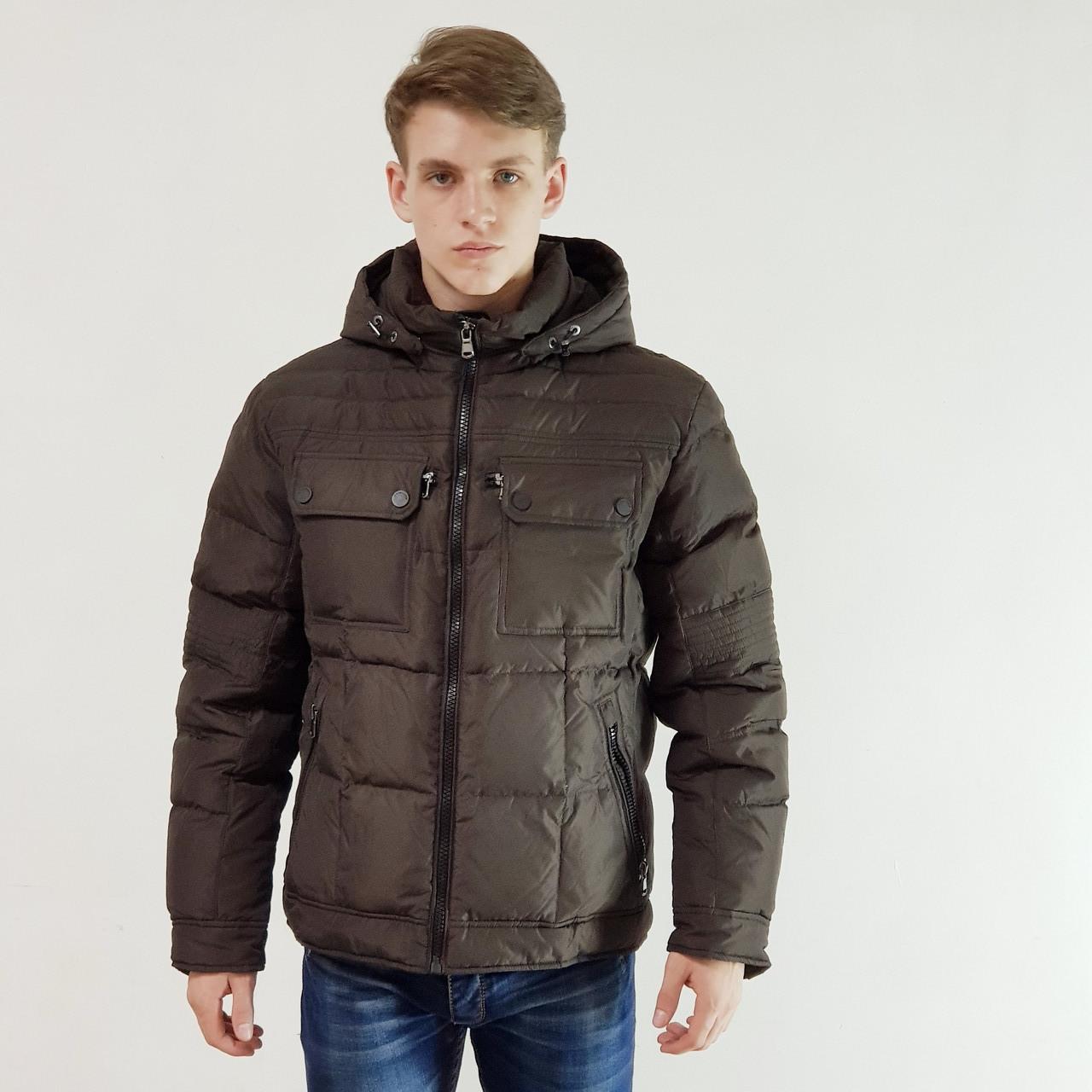 Куртка мужская зимняя Snowimage с капюшоном 48 коричневый 109A-4195