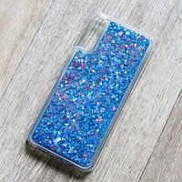 Чехол аквариум для Samsung Galaxy A30S (SM-A307) (сердечки и синие блестки)
