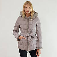 Куртка пуховик зимний женский Snowimage с капюшоном и натуральным мехом 46 серый 127-9402