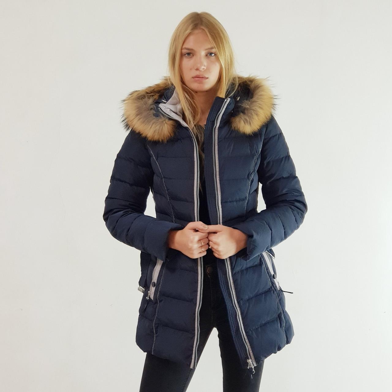 Куртка пуховик зимний женский Snowimage с капюшоном и натуральным мехом 46 синий 305-3246