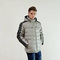 Куртка мужская зимняя Snowimage с капюшоном 52 светло-серый 312A-9354, фото 1