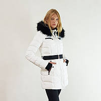 Куртка пуховик зимний женский Snowimage с капюшоном и натуральным мехом 44 белый 317-01
