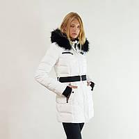 Куртка пуховик зимний женский Snowimage с капюшоном и натуральным мехом 48 белый 317-01, фото 1