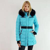Куртка пуховик зимний женский Snowimage с капюшоном и натуральным мехом 42 голубой 317-3249
