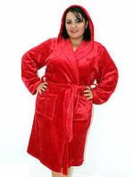 Махровый халат на запах с капюшоном красный, фото 1