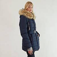 Куртка пуховик зимний женский Snowimage с капюшоном и натуральным мехом 48 синий 334-3246
