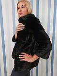 Женская норковая коротенькая шубка в черном цвете, фото 5