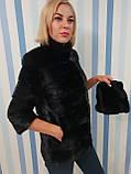 Женская норковая коротенькая шубка в черном цвете, фото 6