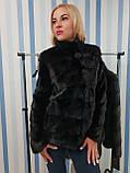 Женская норковая коротенькая шубка в черном цвете, фото 4