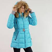 Куртка пуховик зимний женский Snowimage с капюшоном и натуральным мехом 50 голубой 334-3249