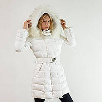 Куртка пуховик зимний женский Snowimage с капюшоном и натуральным мехом 48 белый 393-01