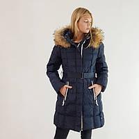 Куртка пуховик зимний женский Snowimage с капюшоном и натуральным мехом 48 синий 501-3246