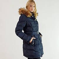 Куртка пуховик зимний женский Snowimage с капюшоном и натуральным мехом 50 синий 509-3246