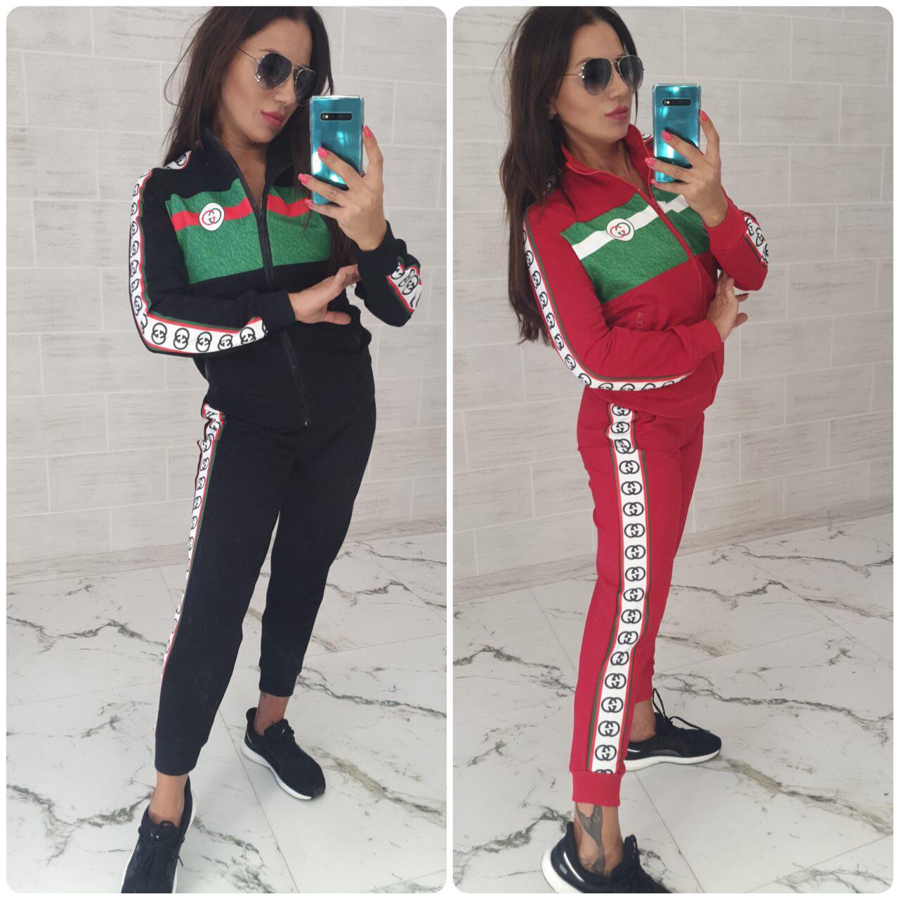 Спортивный костюм женский чёрный красный С М Л