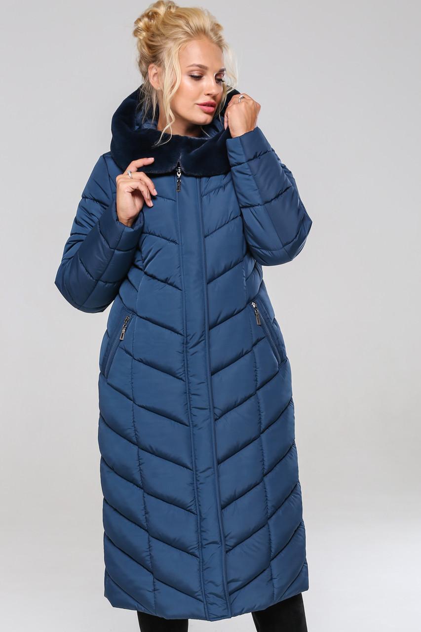 Зимовий жіночий пуховик / пальто Аамаретта мор-хвиля размер 46 48 50 52 54 56 58 60 62 64