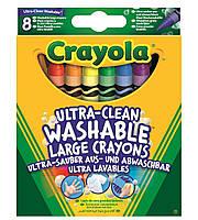 Карандаши Большие смываемые цветные восковые мелки (8 шт), Crayola (52-3282)