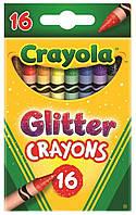 Карандаши Цветные восковые мелки с блесточками Glitter Crayons (16 шт), Crayola (52-3716)
