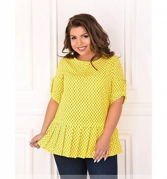 / Размер 50,52,54,56 / Женская лёгкая, воздушная и очень милая блуза батал 166-1-Желтый