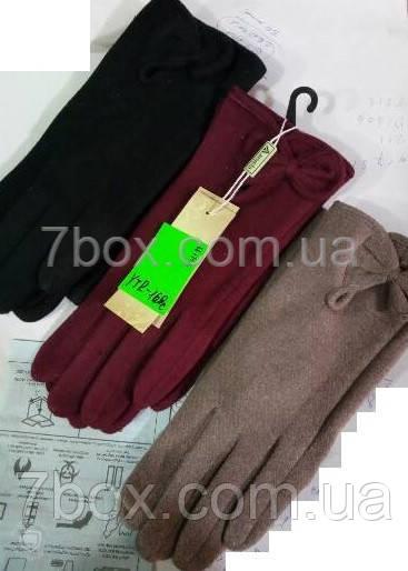 Перчатки женские трикотаж на байке ОПТ. Бант Китай 12шт