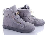 """Ботинки зимние женские """"Zoom"""" #KAB167 grey. р-р 36-41. Цвет серый. Оптом"""