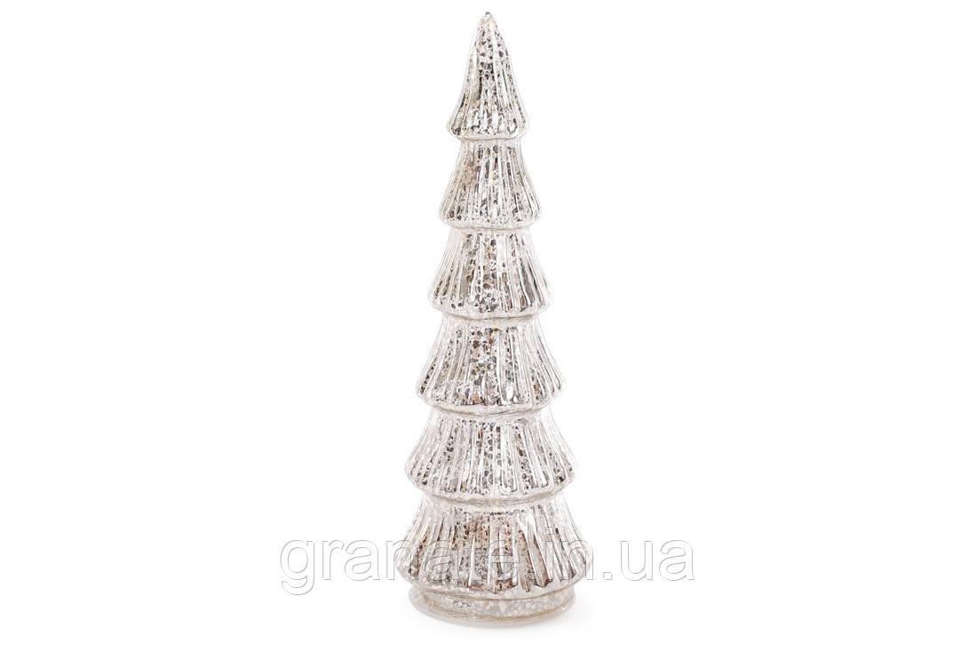 Новогоднее украшение Елка с LED-подсветкой 30см на батарейках (3хАА), цвет - серебро антик