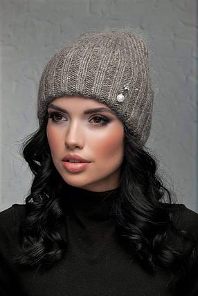 Женская шапка с отворотом Flirt Персия One Size бежевая, фото 2
