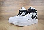 Чоловічі зимові кросівки Nike Air Force 1 Mid 07 LV8 Utility (біло-чорні), фото 4